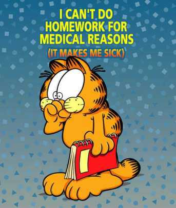 Even Garfield hates homework.