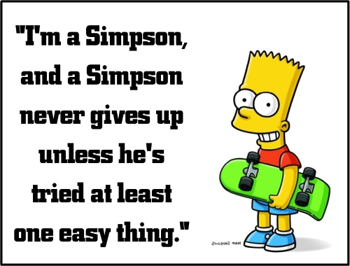 bart simpson never give up