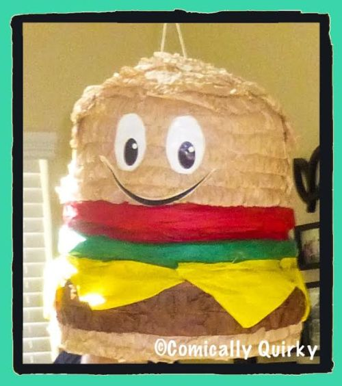 "The ""before"" picture. Look at how happy this sweet, smiley cheeseburger was...until my boys came along."