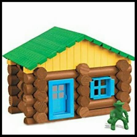 I want a Lincoln Log house just like this one... complete with the funky green cowboy to protect us from disgruntled elk.